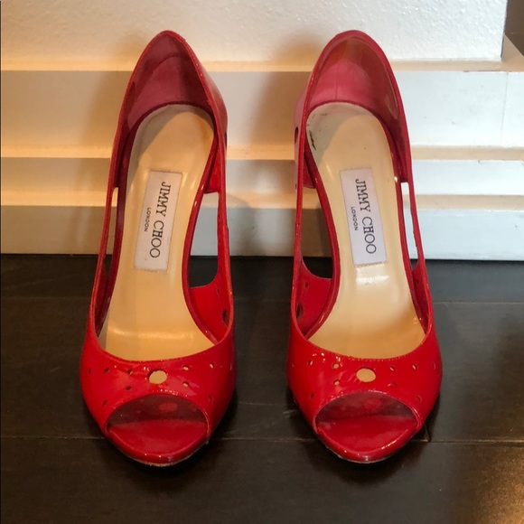 Jimmy Choo Shoes - Jimmy Choo red patent leather open tie pump.
